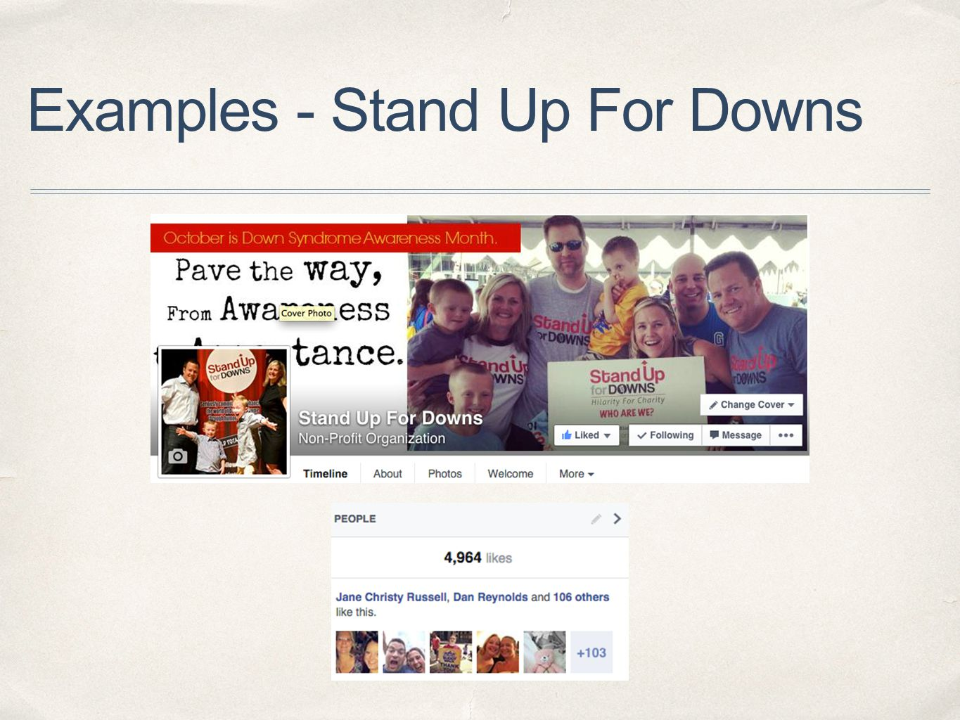 Examples - Stand Up For Downs