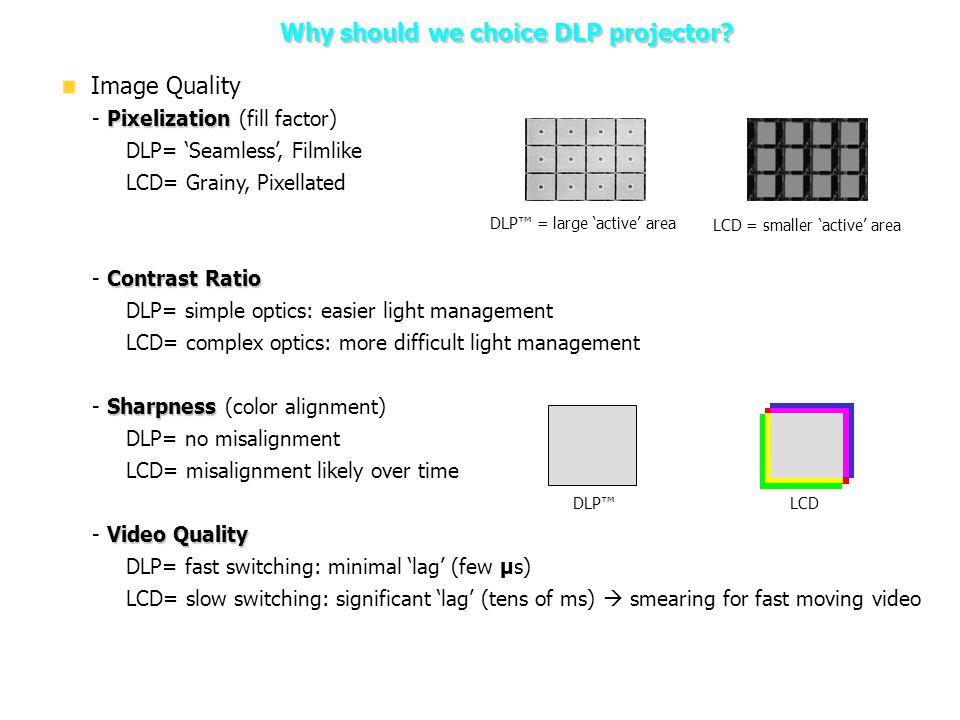 Why should we choice DLP projector? 2. DLP Projector – Why should we choice DLP projector? Image Quality Pixelization - Pixelization (fill factor) DLP