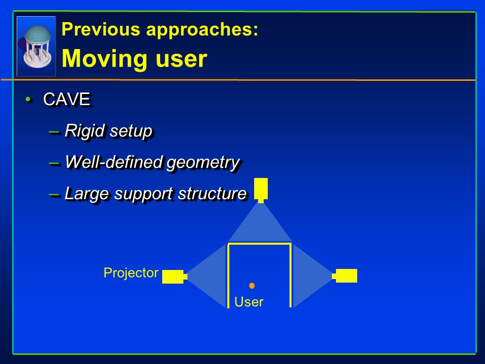 Previous approaches: Moving user CAVECAVE –Rigid setup –Well-defined geometry –Large support structure Projector User