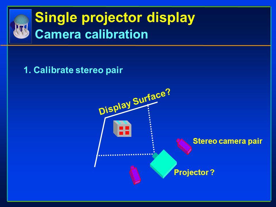 Single projector display Camera calibration Display Surface? Projector ? Stereo camera pair 1. Calibrate stereo pair