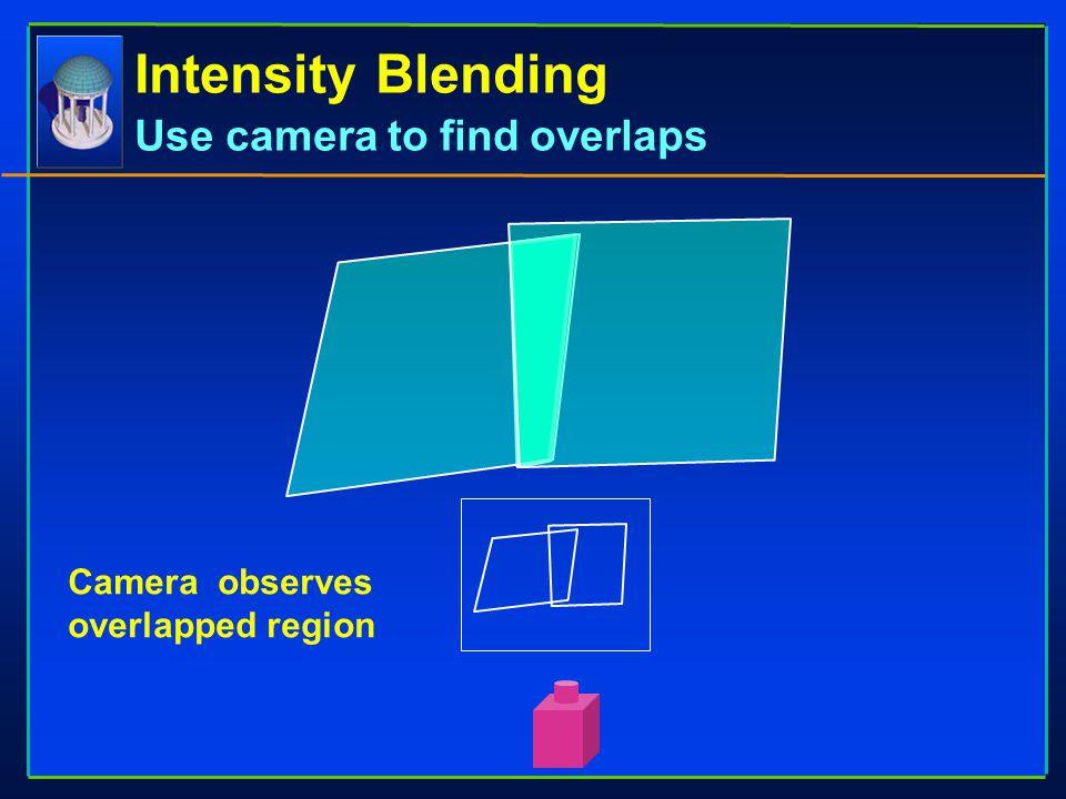 Intensity Blending Use camera to find overlaps Camera observes overlapped region