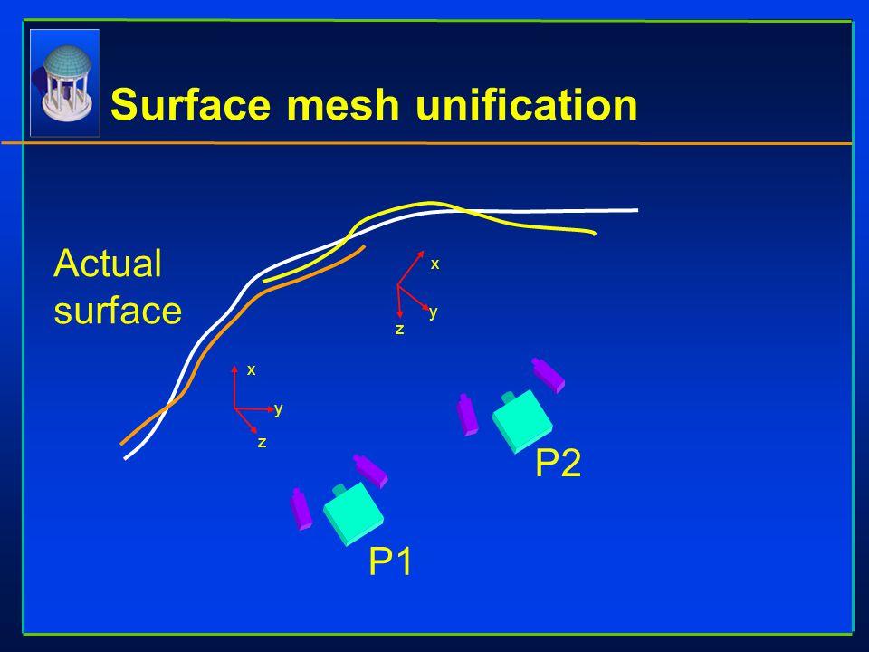 Surface mesh unification x y z x y z P1 P2 Actual surface