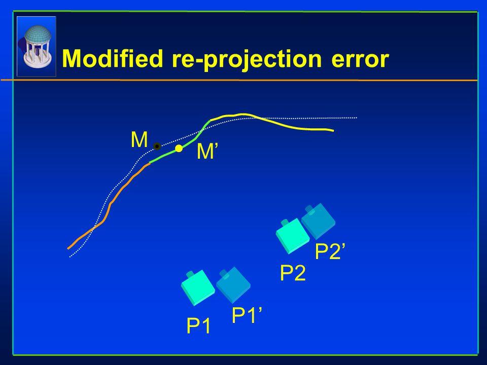 Modified re-projection error M M' P1 P2' P2 P1'