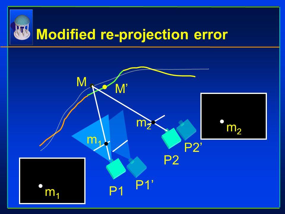 Modified re-projection error M M' P1 P2' P2 P1' m1m1 m1m1 m2m2 m2m2