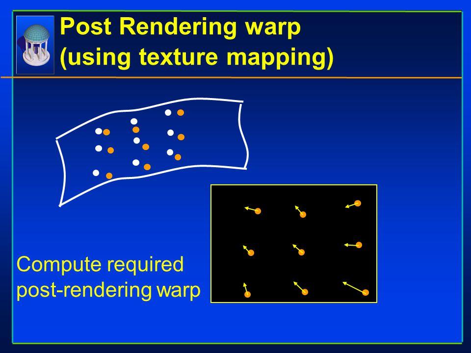 Post Rendering warp (using texture mapping) Compute required post-rendering warp