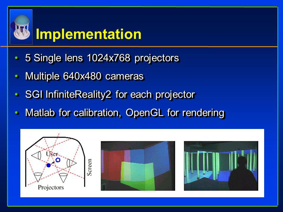 5 Single lens 1024x768 projectors5 Single lens 1024x768 projectors Multiple 640x480 camerasMultiple 640x480 cameras SGI InfiniteReality2 for each proj