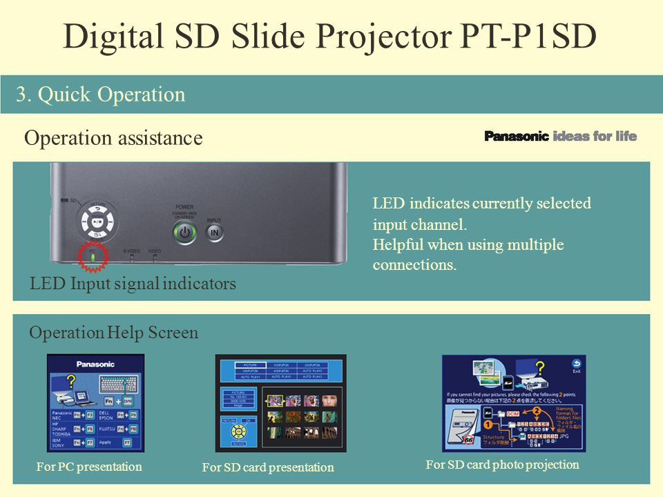 Digital SD Slide Projector PT-P1SD Operation assistance LED Input signal indicators LED indicates currently selected input channel. Helpful when using