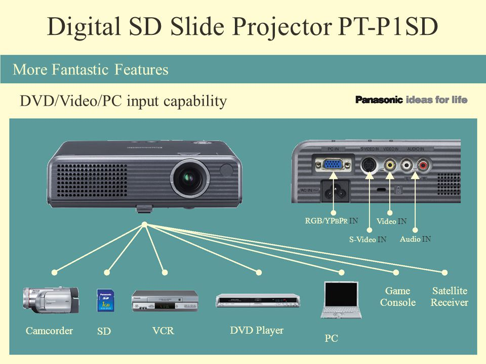 Digital SD Slide Projector PT-P1SD More Fantastic Features DVD/Video/PC input capability Camcorder SD VCR DVD Player PC Game Console Satellite Receive
