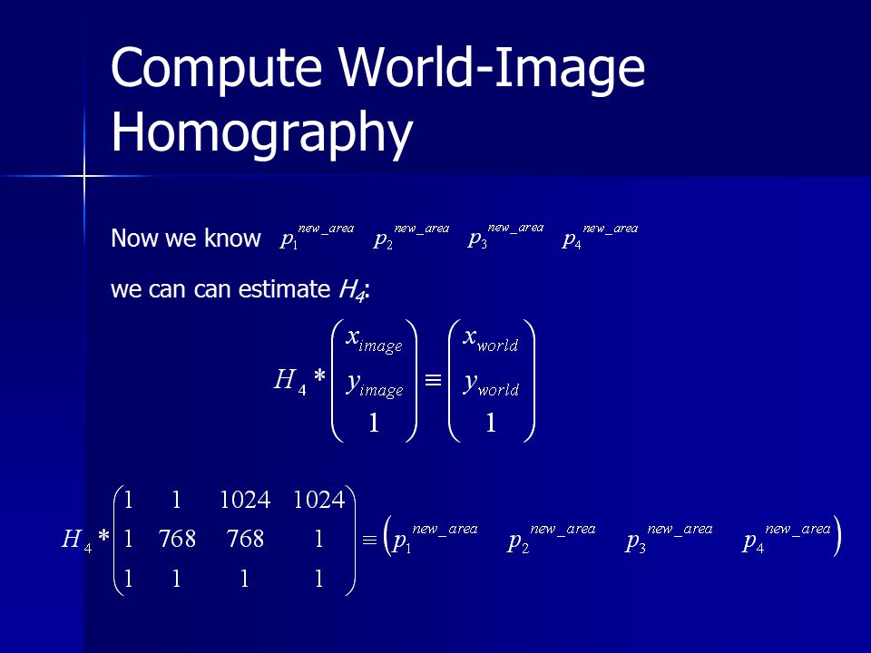 Compute World-Image Homography Now we know we can can estimate H 4 :