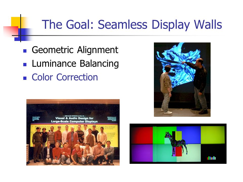 Causes of Color Imbalance Differing color primaries Projector bulbs Color filters Differing RGB color proportions Color temperature setting RGB luminance mismatch Contributing to these Manufacturing tolerances Temporal decay Differences in model/brand