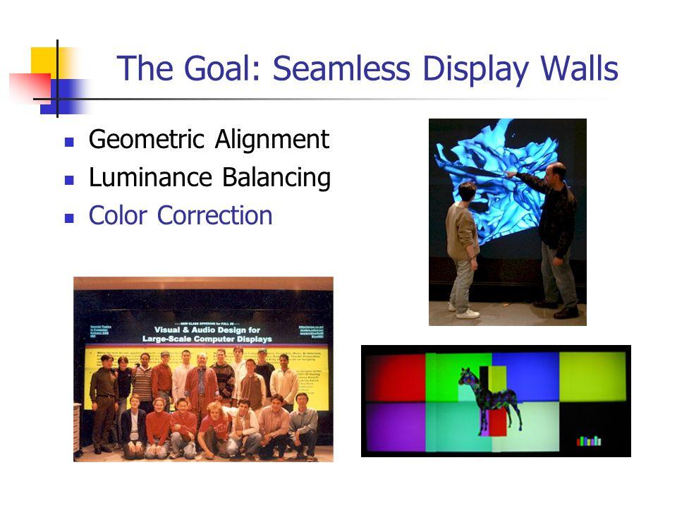 The Goal: Seamless Display Walls Geometric Alignment Luminance Balancing Color Correction