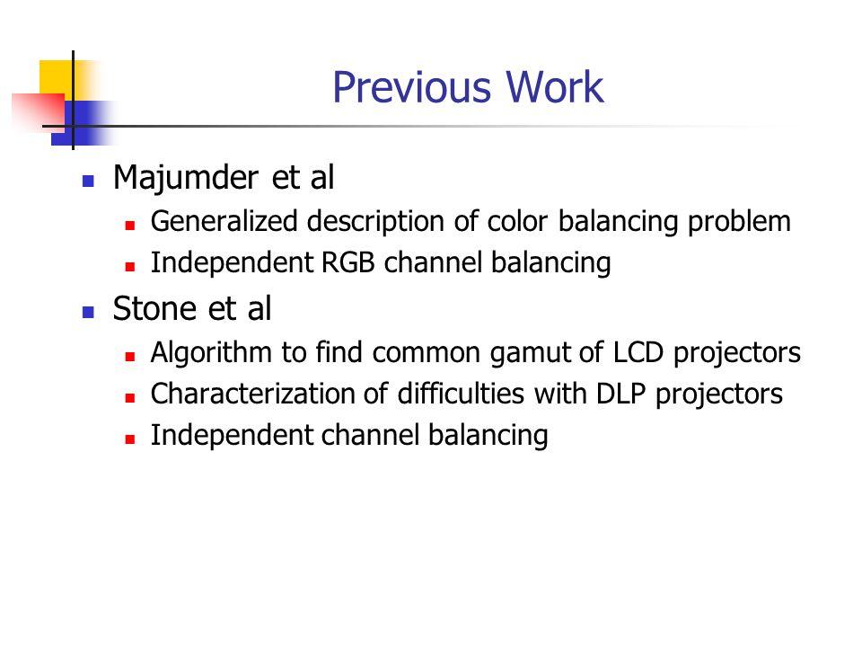 Previous Work Majumder et al Generalized description of color balancing problem Independent RGB channel balancing Stone et al Algorithm to find common