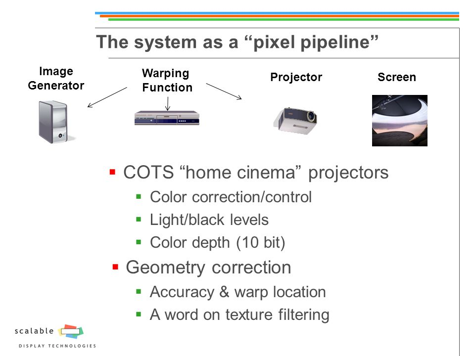 The system as a pixel pipeline  COTS home cinema projectors  Color correction/control  Light/black levels  Color depth (10 bit)  Geometry correction  Accuracy & warp location  A word on texture filtering Image Generator Warping Function ProjectorScreen