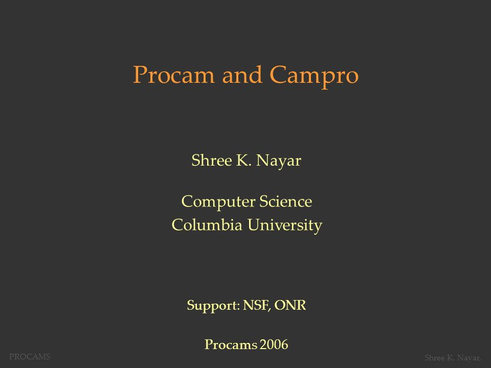 Single Projector: Focused Projection at Multiple Depths PROCAMS Shree K. Nayar,