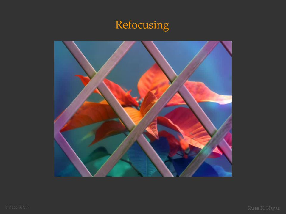 Refocusing PROCAMS Shree K. Nayar,