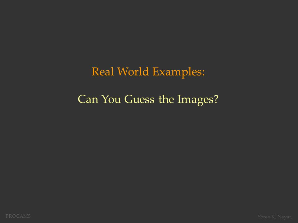 Real World Examples: Can You Guess the Images PROCAMS Shree K. Nayar,