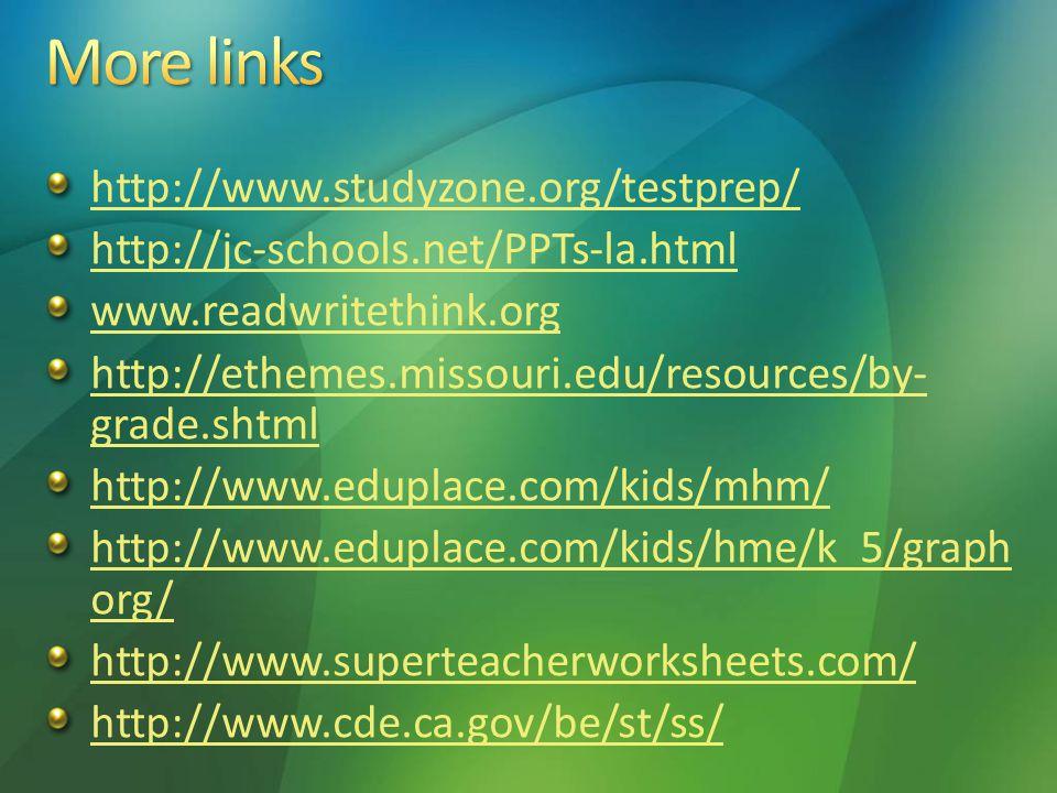 http://www.studyzone.org/testprep/ http://jc-schools.net/PPTs-la.html www.readwritethink.org http://ethemes.missouri.edu/resources/by- grade.shtml htt