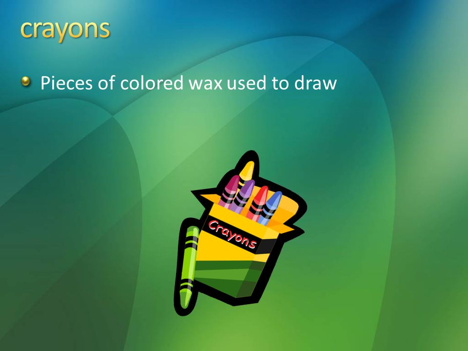Pieces of colored wax used to draw