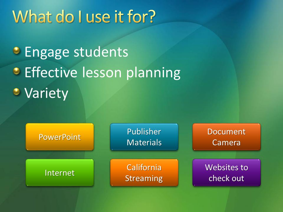 Engage students Effective lesson planning Variety Document Camera Document Camera Document Camera Document Camera Publisher Materials Publisher Materials Publisher Materials Publisher Materials PowerPoint Websites to check out Websites to check out Websites to check out Websites to check out California Streaming Internet