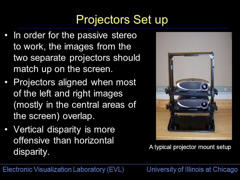 Electronic Visualization Laboratory (EVL) University of Illinois at Chicago Projectors Set up In order for the passive stereo to work, the images from the two separate projectors should match up on the screen.