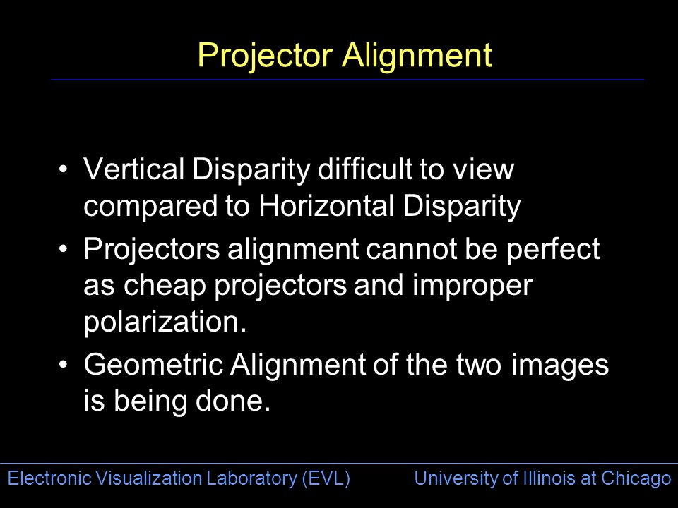 Electronic Visualization Laboratory (EVL) University of Illinois at Chicago Projector Alignment Vertical Disparity difficult to view compared to Horizontal Disparity Projectors alignment cannot be perfect as cheap projectors and improper polarization.