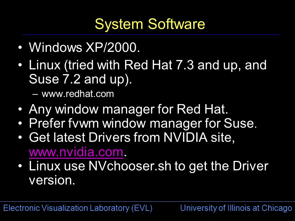 Electronic Visualization Laboratory (EVL) University of Illinois at Chicago System Software Windows XP/2000.