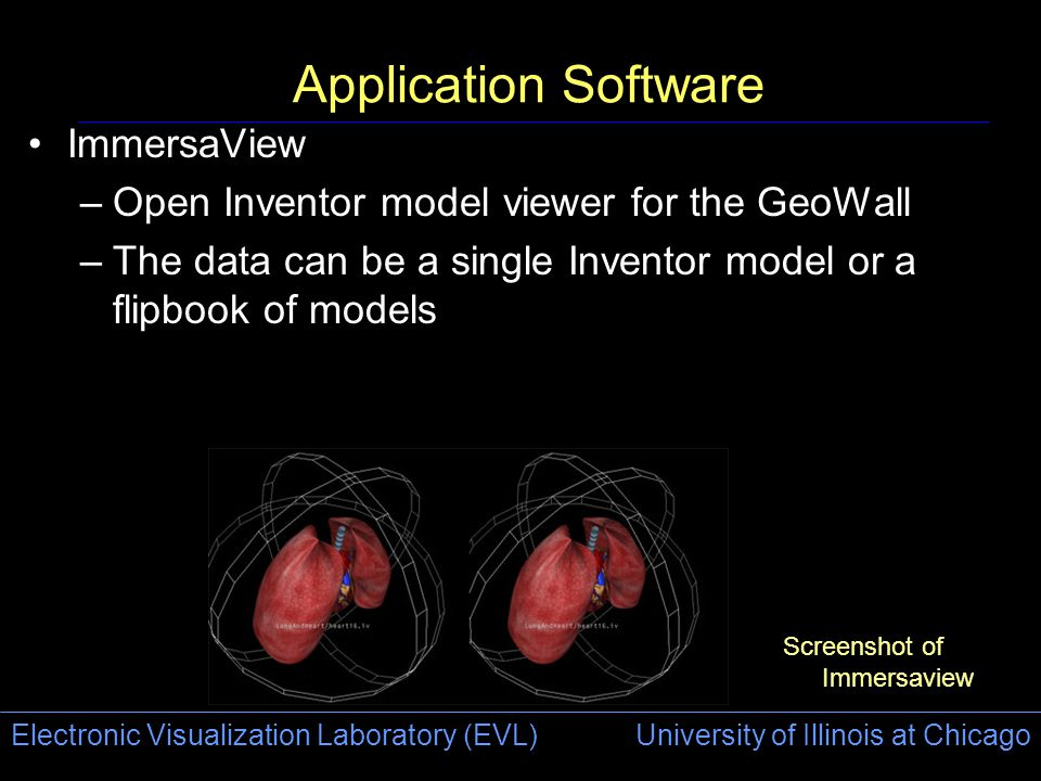 Electronic Visualization Laboratory (EVL) University of Illinois at Chicago Application Software ImmersaView –Open Inventor model viewer for the GeoWa