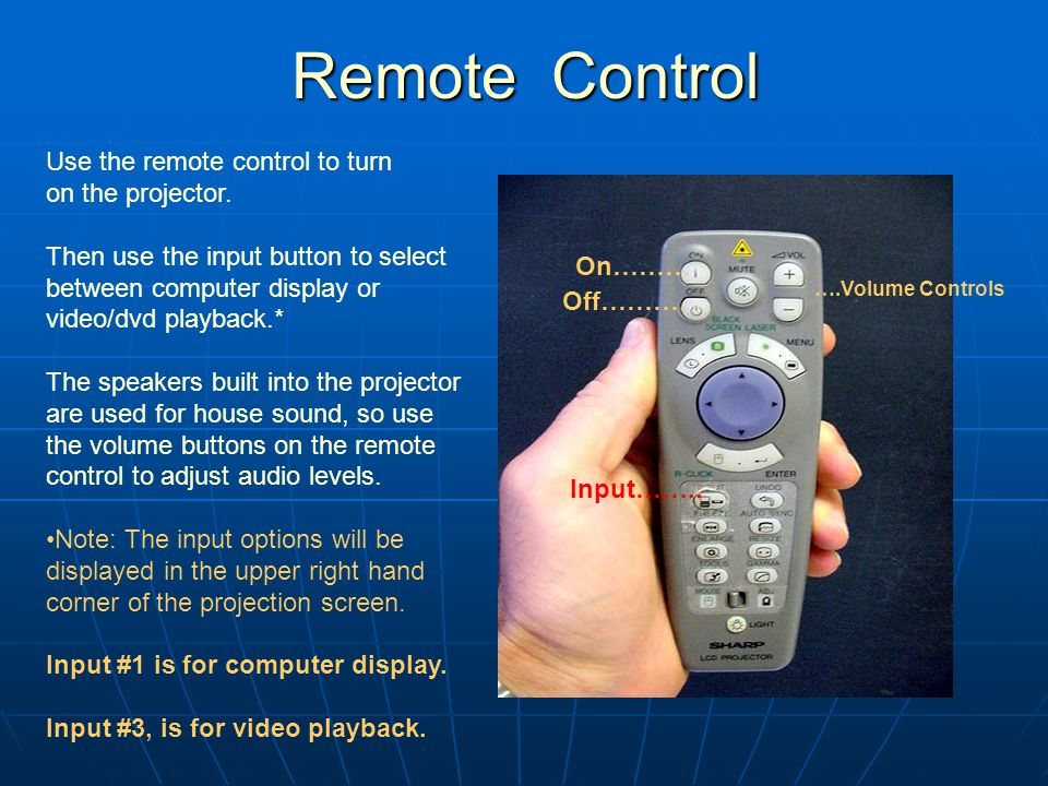 Remote Control Remote Control On……… Off……….Input……..