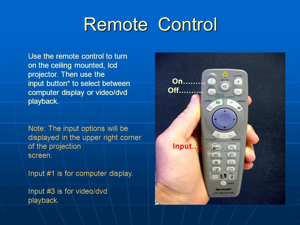 Remote Control Remote Control On……… Off………. Input……..