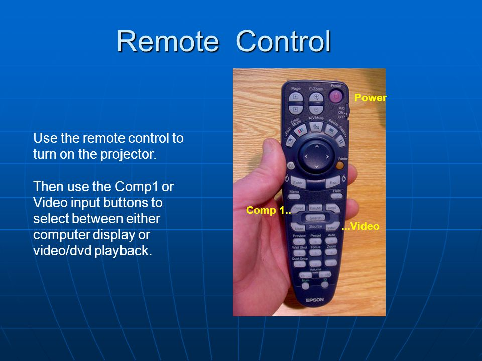 Remote Control Use the remote control to turn on the projector.