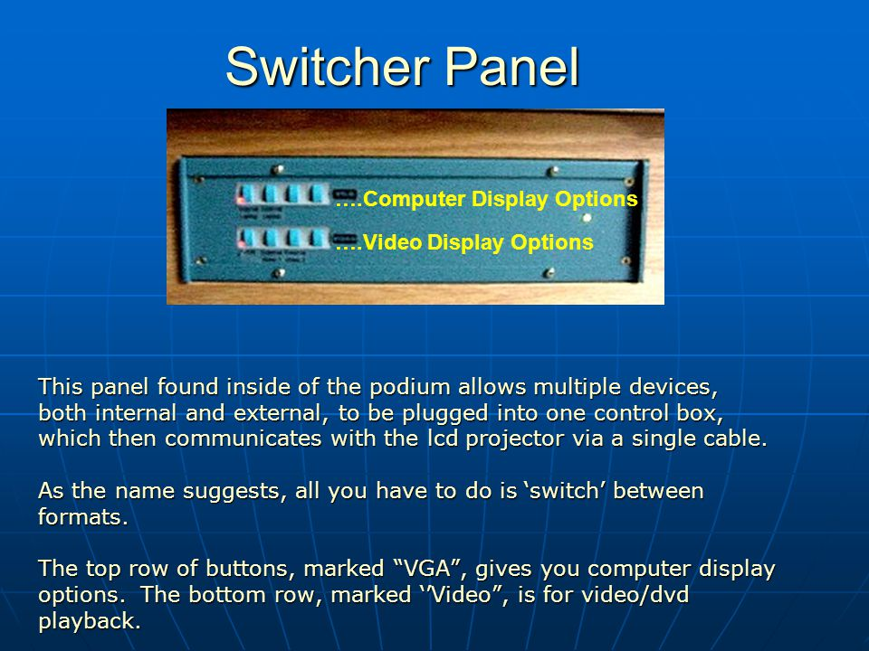 Switcher Panel Switcher Panel This panel found inside of the podium allows multiple devices, both internal and external, to be plugged into one control box, which then communicates with the lcd projector via a single cable.