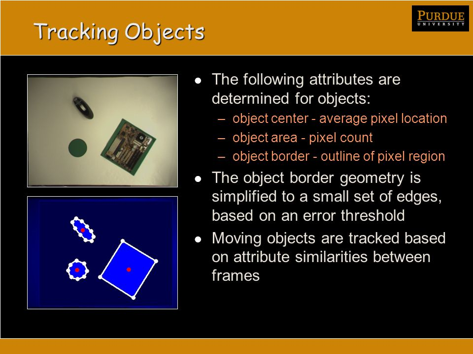 Tracking Objects The following attributes are determined for objects: –object center - average pixel location –object area - pixel count –object border - outline of pixel region The object border geometry is simplified to a small set of edges, based on an error threshold Moving objects are tracked based on attribute similarities between frames