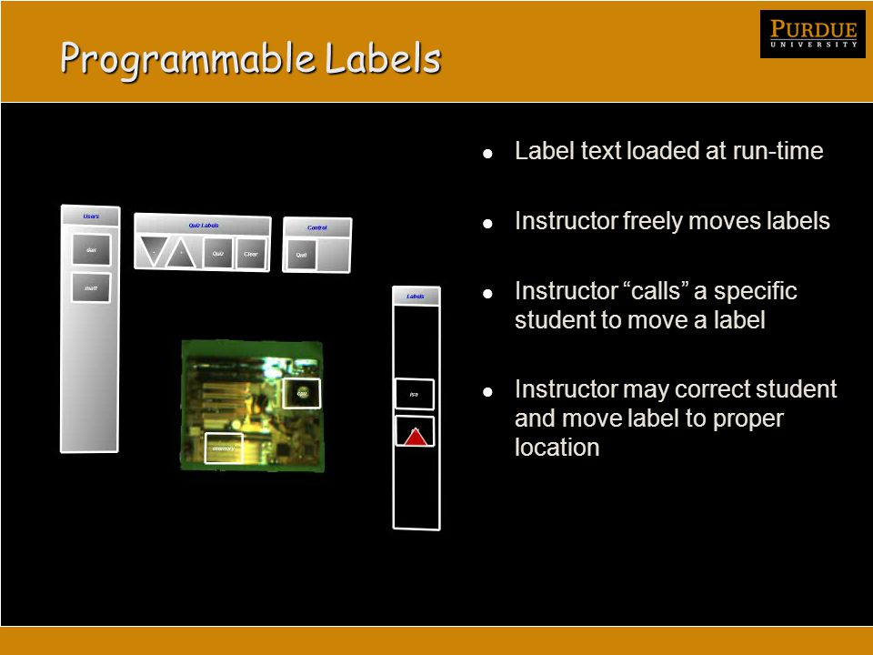 Programmable Labels Label text loaded at run-time Instructor freely moves labels Instructor calls a specific student to move a label Instructor may correct student and move label to proper location