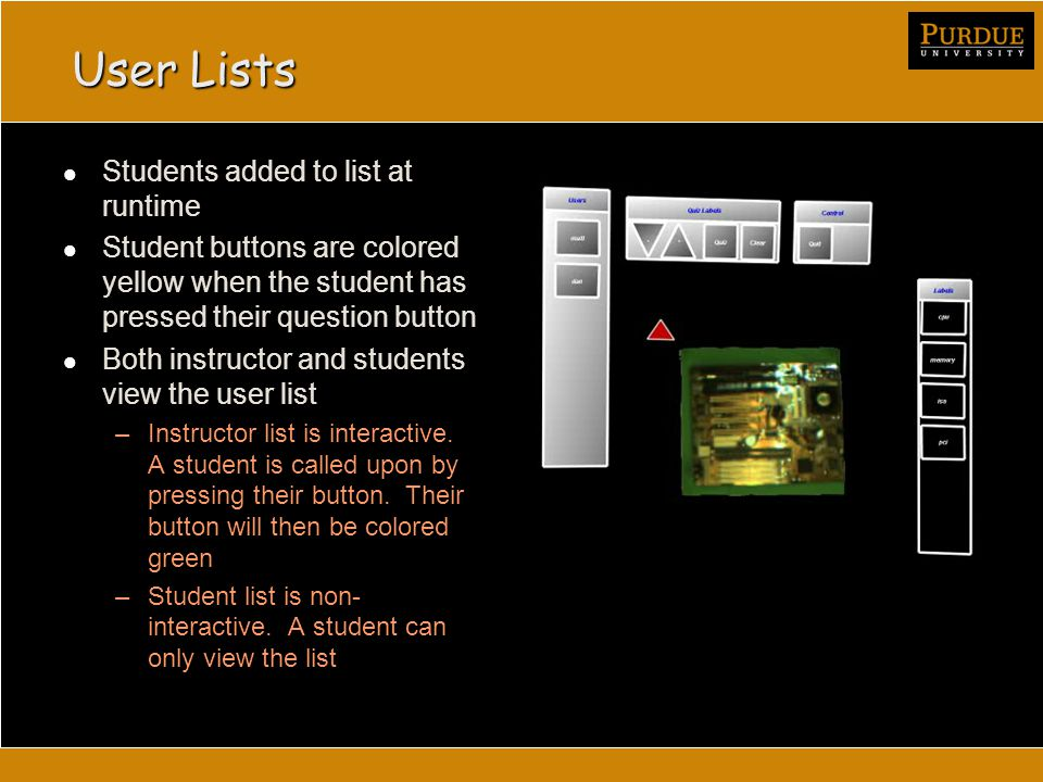 User Lists Students added to list at runtime Student buttons are colored yellow when the student has pressed their question button Both instructor and students view the user list –Instructor list is interactive.