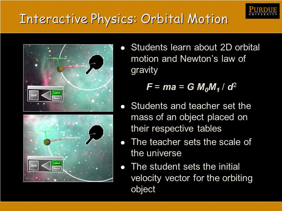 Interactive Physics: Orbital Motion Students learn about 2D orbital motion and Newton's law of gravity F = ma = G M 0 M 1 / d 2 Students and teacher set the mass of an object placed on their respective tables The teacher sets the scale of the universe The student sets the initial velocity vector for the orbiting object