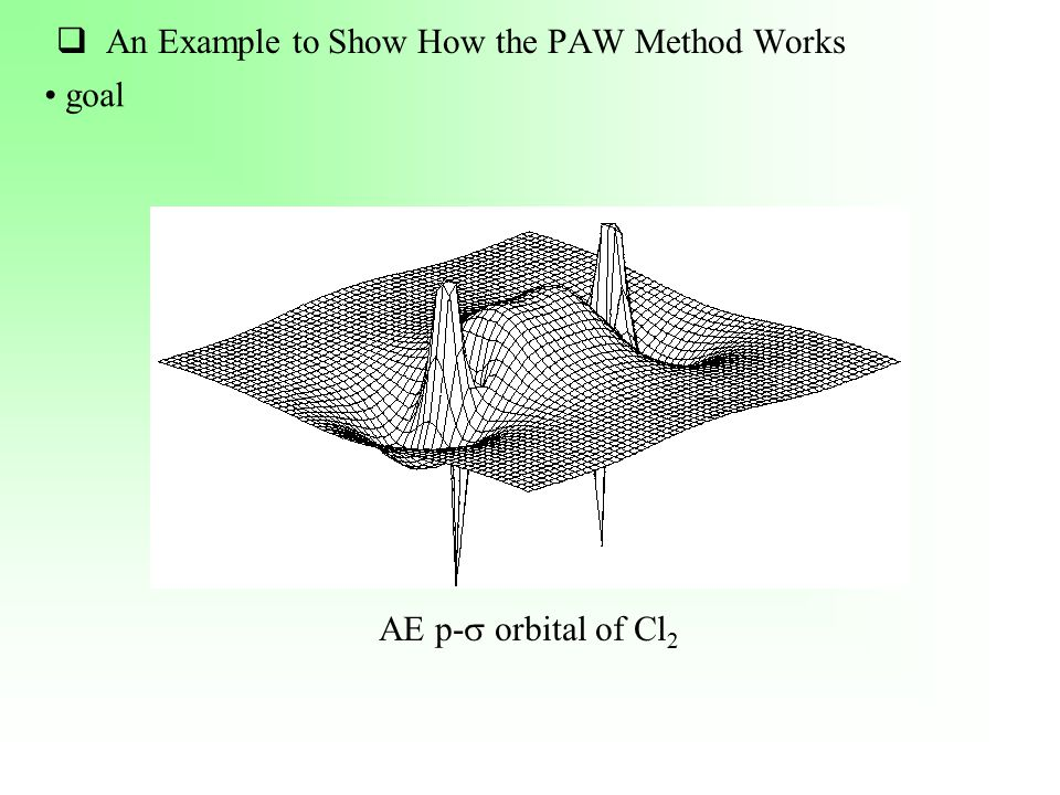  An Example to Show How the PAW Method Works goal AE p-  orbital of Cl 2