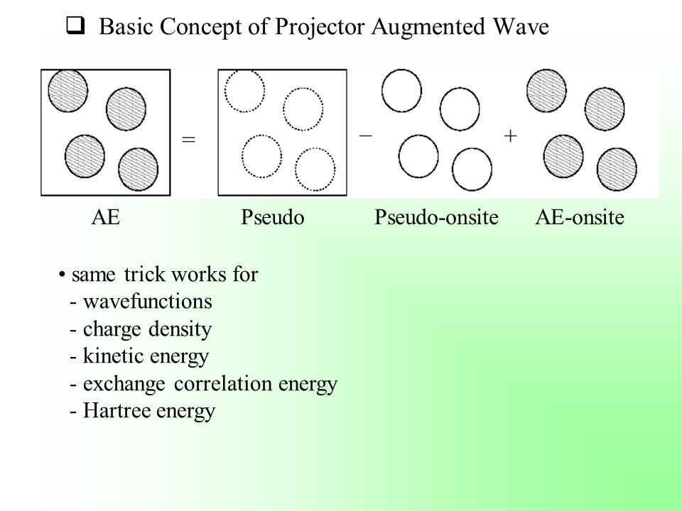  Basic Concept of Projector Augmented Wave AE Pseudo Pseudo-onsite AE-onsite same trick works for - wavefunctions - charge density - kinetic energy -