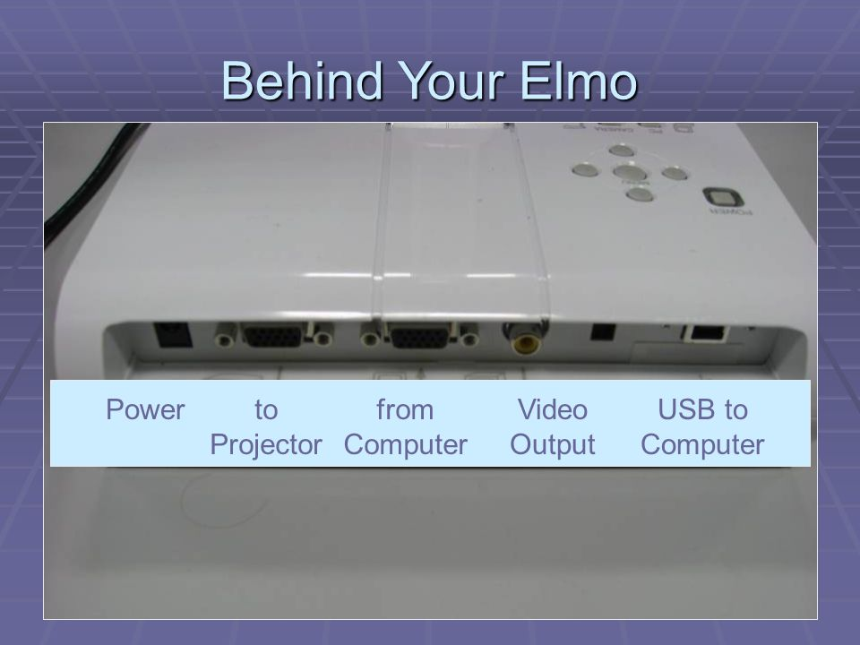 Powerto Projector from Computer Video Output USB to Computer Behind Your Elmo