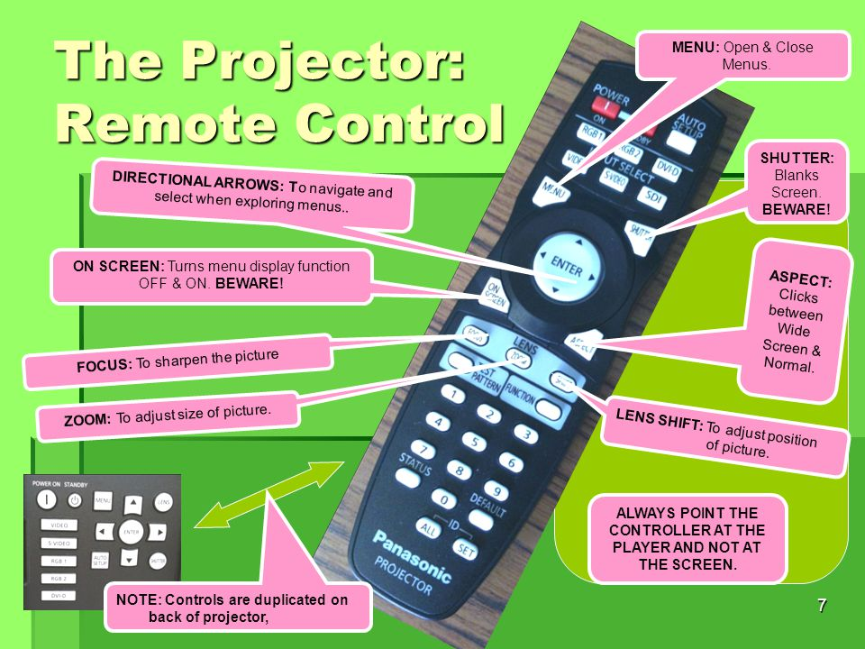 7 The Projector: Remote Control LENS SHIFT: To adjust position of picture.