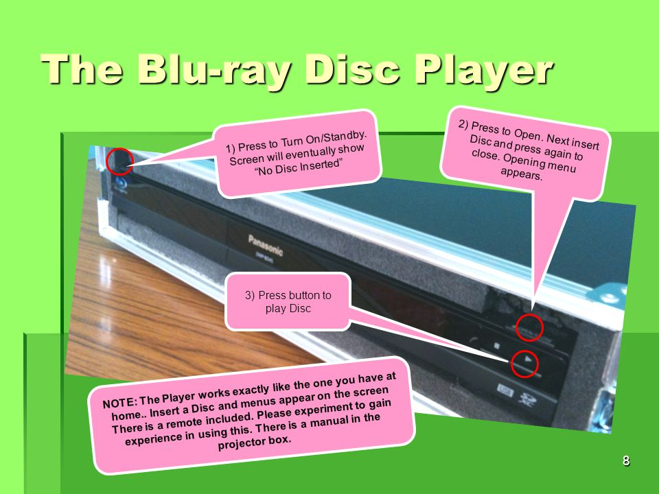 8 The Blu-ray Disc Player Picture of DVD front Panel 1) Press to Turn On/Standby.