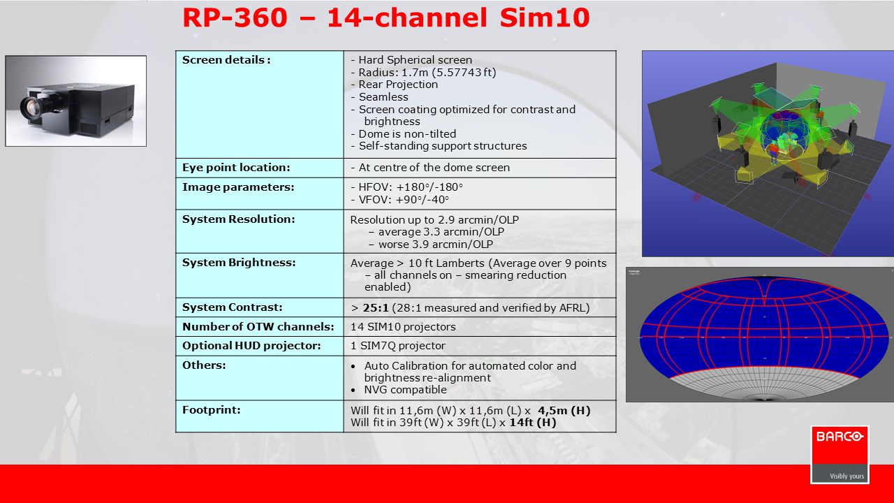 RP-360 – 14-channel Sim10 Screen details :- Hard Spherical screen - Radius: 1.7m (5.57743 ft) - Rear Projection - Seamless - Screen coating optimized for contrast and brightness - Dome is non-tilted - Self-standing support structures Eye point location:- At centre of the dome screen Image parameters:- HFOV: +180°/-180° - VFOV: +90°/-40° System Resolution:Resolution up to 2.9 arcmin/OLP – average 3.3 arcmin/OLP – worse 3.9 arcmin/OLP System Brightness:Average > 10 ft Lamberts (Average over 9 points – all channels on – smearing reduction enabled) System Contrast:> 25:1 (28:1 measured and verified by AFRL) Number of OTW channels:14 SIM10 projectors Optional HUD projector:1 SIM7Q projector Others: Auto Calibration for automated color and brightness re-alignment NVG compatible Footprint:Will fit in 11,6m (W) x 11,6m (L) x 4,5m (H) Will fit in 39ft (W) x 39ft (L) x 14ft (H)