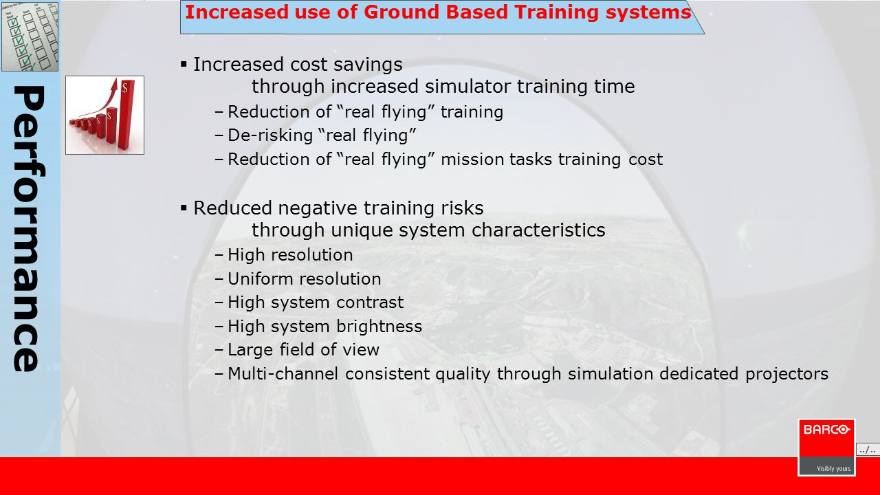 Increased use of Ground Based Training systems  Increased cost savings through increased simulator training time –Reduction of real flying training –De-risking real flying –Reduction of real flying mission tasks training cost  Reduced negative training risks through unique system characteristics –High resolution –Uniform resolution –High system contrast –High system brightness –Large field of view –Multi-channel consistent quality through simulation dedicated projectors./......./..