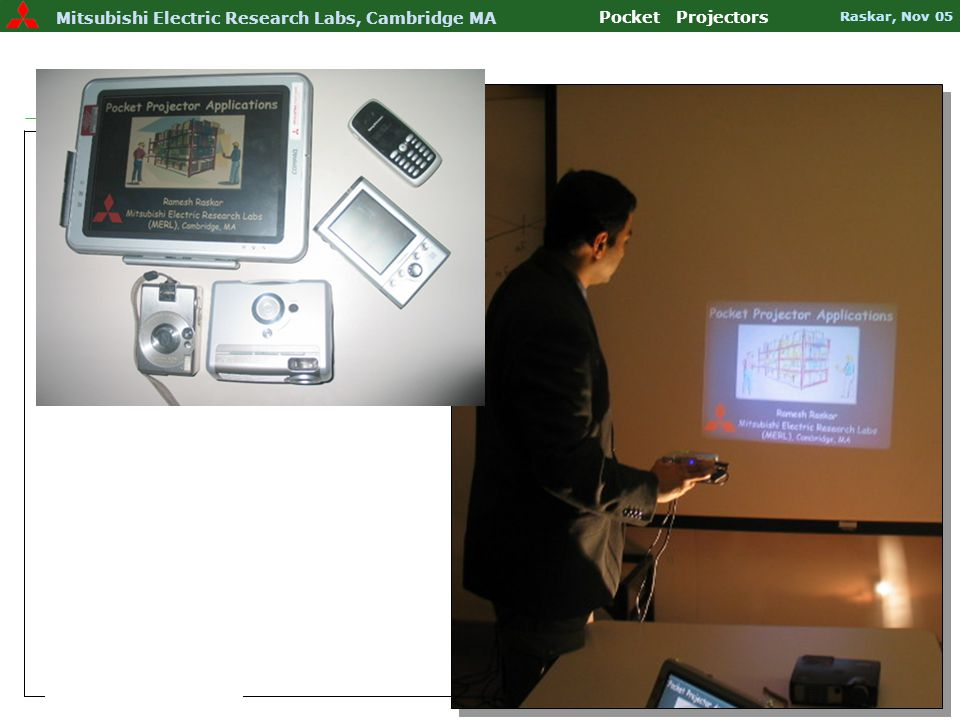 FID 2005 – An iSuppli Event Slide 36 Mitsubishi Electric Research Labs Pocket Projectors Raskar, Nov 05 Mitsubishi Electric Research Labs, Cambridge MA Pocket Projectors Raskar, Nov 05 RFIG: Finding Tag Location and Image Overlay Siggraph 2004