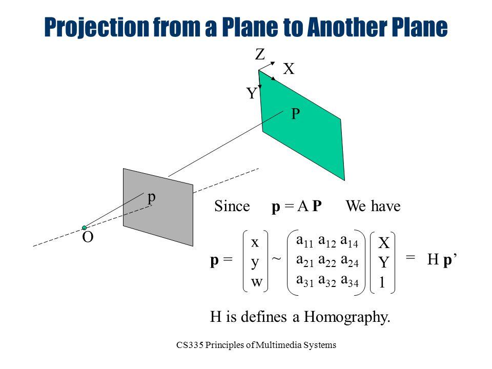 CS335 Principles of Multimedia Systems Projection from a Plane to Another Plane O p P p = A P X Y Z SinceWe have xywxyw ~ a 11 a 12 a 14 a 21 a 22 a 2