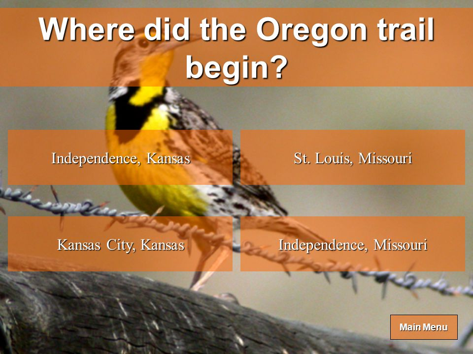 Main Menu Main Menu The migration to Oregon became know as what in 1843.