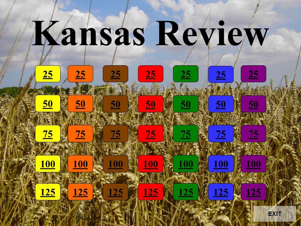Kansas Review 25 50 75 100 25 50 75 100 25 50 75 100 25 50 75 100 25 50 75 100 25 50 75 100 25 50 75 100 125 EXIT