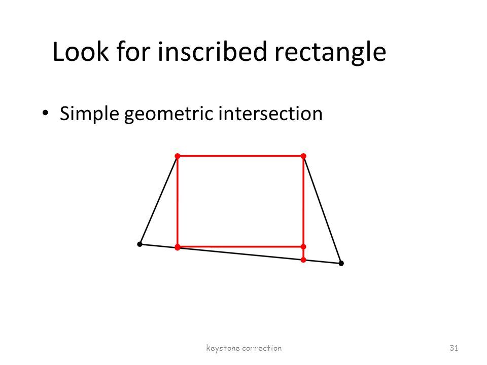 Look for inscribed rectangle Simple geometric intersection keystone correction 31