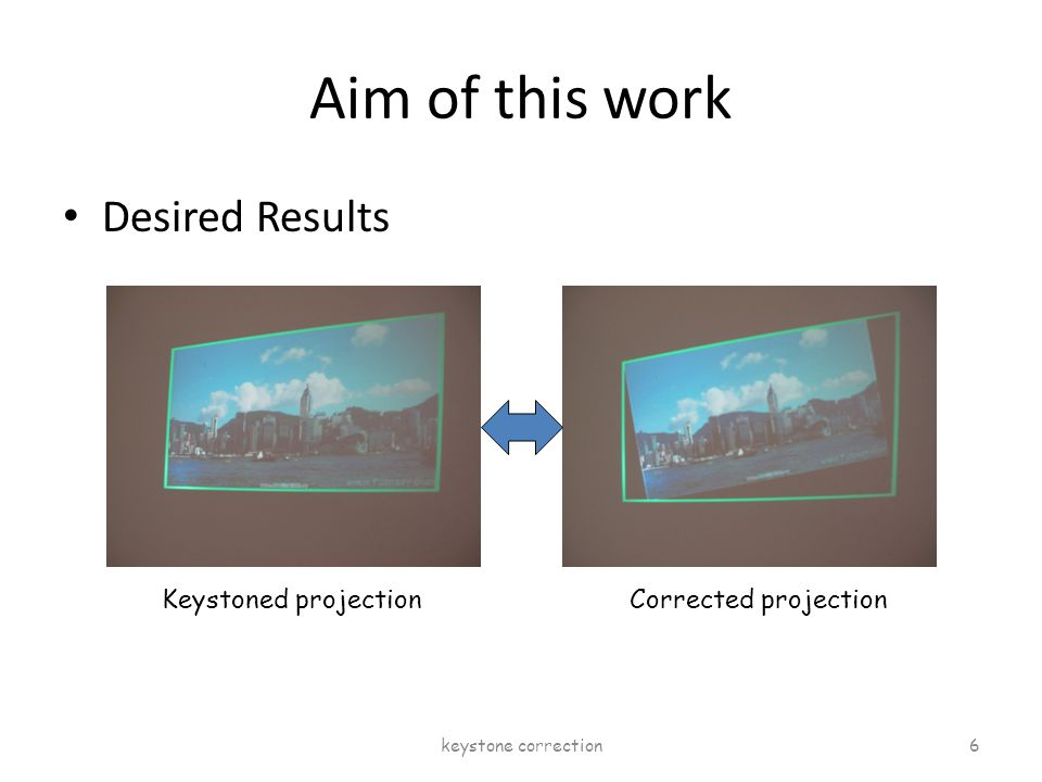 Aim of this work Desired Results Keystoned projectionCorrected projection keystone correction 6