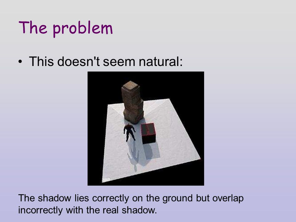 The problem This doesn t seem natural: The shadow lies correctly on the ground but overlap incorrectly with the real shadow.