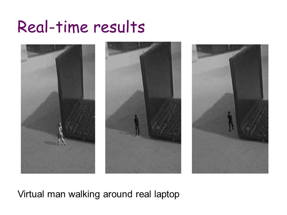 Real-time results Virtual man walking around real laptop